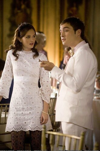gossip girl blair dress white short dress long sleeve dress