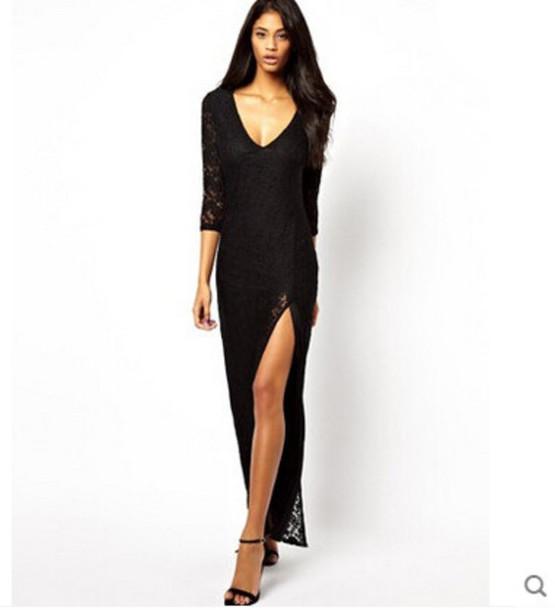 Dress: black dress, black long dress, black backless dress ...
