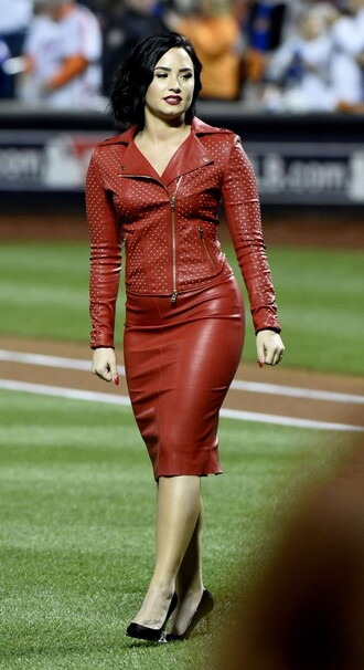jacket red leather pencil skirt demi lovato pumps leather skirt biker jacket