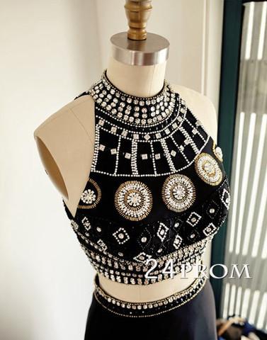 2 Piece Black Beaded Halter Neck Long Chiffon Prom Dress, Evening Dress - 24prom