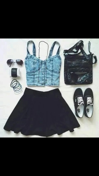 top crop tops jeans blue skirt black
