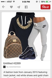 nike,grey sweatpants,sweatpants,air jordan,high top sneakers,backpack,gold chain,gold necklace,black hoodie,sportswear,urban,jordans,nike sweater,nike air,air jordan 11,polyvore,outfit,pinterest,sneakers