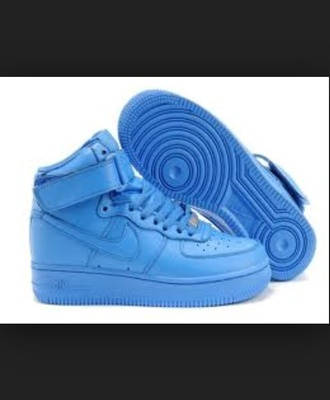 shoes baby blue light blue air air force one high top nike