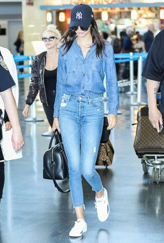 shoes kendall jenner denim denim on denim jeans skinny jeans denim shirt sneakers style fashion model blouse hat