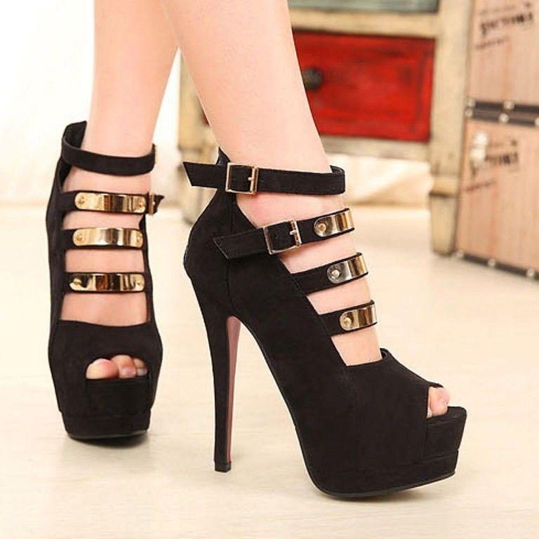 2014 New Black Women Ankle Platform Pumps Peep Toe Red Bottom 14cm High Heels   eBay