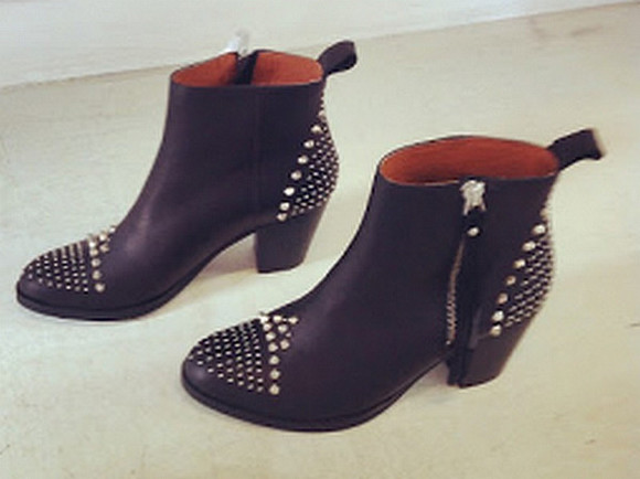 shoes low boots spike spiked shoes zipper