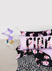 pajamas,pink,flowers,black,pillow,bedsheets,bedding,girly,pink by victorias secret,bedroom,home accessory,dorm room,victoria's secret,vspink,floral