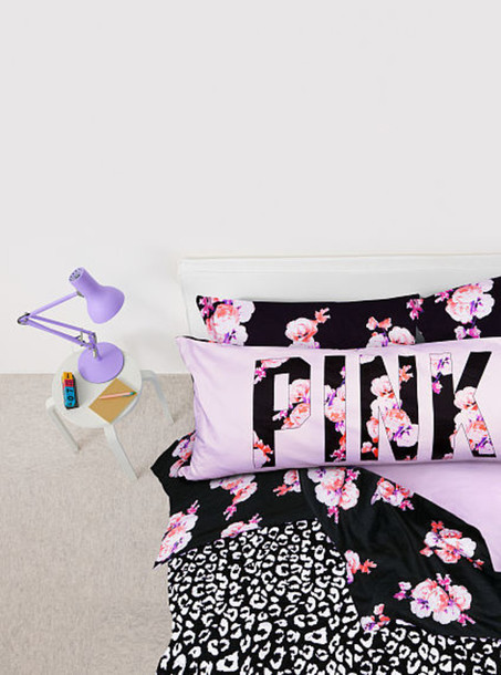 Pajamas, Pink, Flowers, Black, Pillow, Bedsheets, Bedding