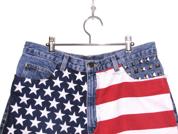 Items similar to studded high waisted american flag shorts on etsy