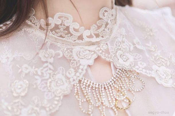blouse collar lace collar white lace collar cute ulzzang sweet heart korean fashion korean fashion korean style ulzzang jewels