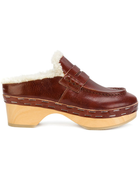Mm6 Maison Margiela wood women mules leather wool brown shoes