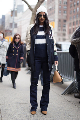 jacket sweater stripes striped sweater fashion week 2016 ny fashion week 2016 streetstyle