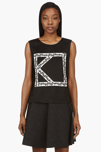 black ribbon women clothes shirt logo viscose tank top tank top top