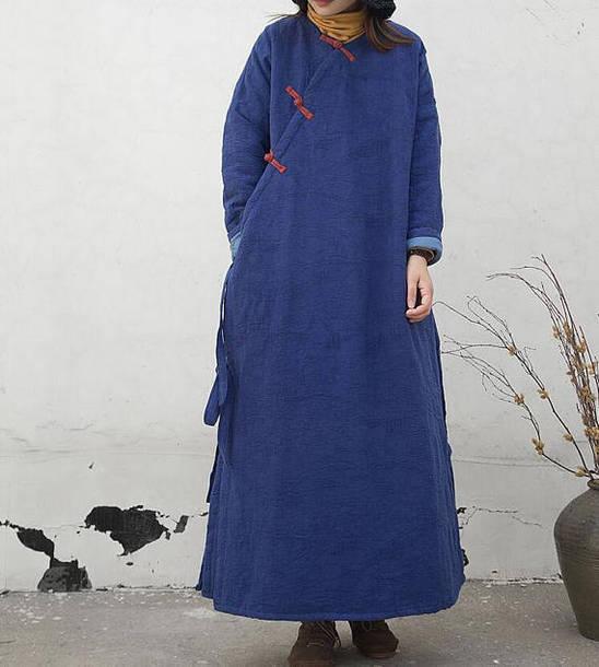 coat blue winter robe
