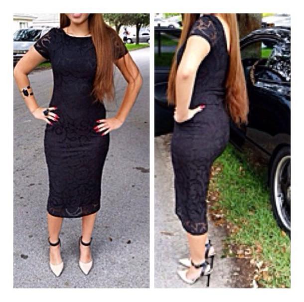 dress lace dress black dress midi dress forever 21 shoes forever 21 little black dress