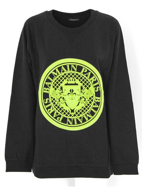 Balmain Black And Yellow Cotton Sweatshirt.