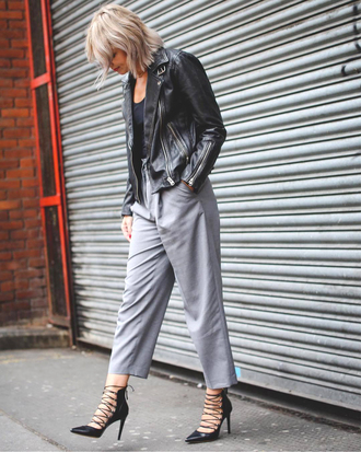 pants grey pants black jacket tumblr cropped pants pumps pointed toe pumps high heels heels jacket leather jacket shoes