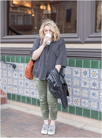 chasingdavies blogger top pants shoes jacket bag plus size grey shirt pom pom shoes camo pants spring outfits plus size top curvy