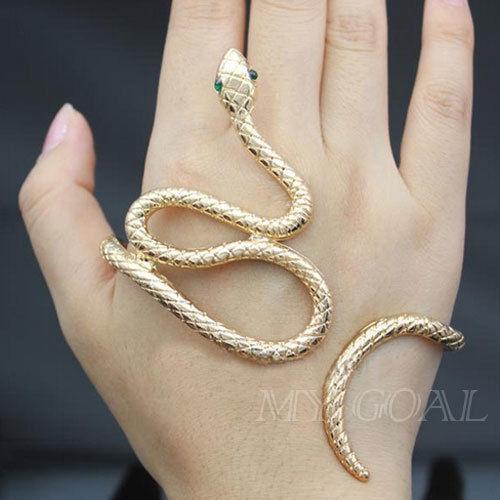 Punk snake crystal hand palm bracelet bangle cuff ring jewelry fancy dress goth