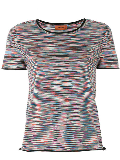 Missoni - patterned crop T-shirt - women - Nylon/Wool - 48, Nylon/Wool
