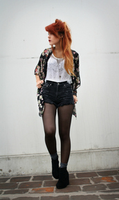 cardigan,print,flowers,kimono,silk,black,red,white,le happy,jacket