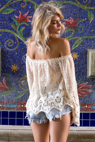 top crochet crochet top boho bohemian short indie beach santorini off the shoulder style summer outfits summer spring festival festival top nude ootd fashion trendy