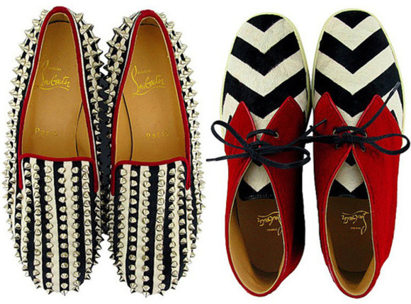 shoes spiked shoes striped oxfords