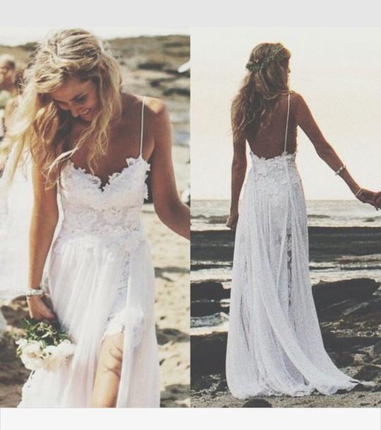 Dress White Lace Lace Wedding Dress Flowy Boho Dress Wedding
