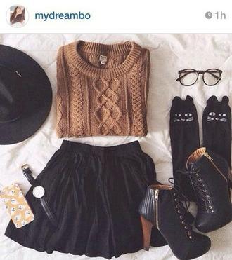 skirt hipster pullover cat socks hat shoes
