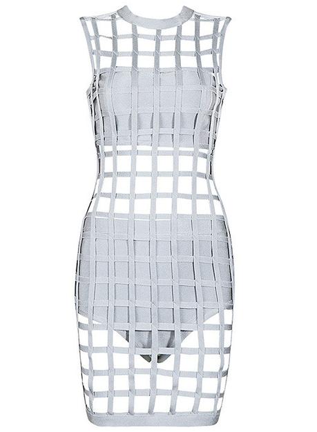 Caged Bandage Dress Grey