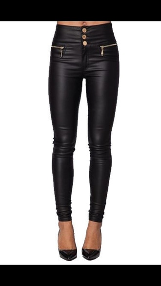 pants high waisted jeans leather jeans skinny fit