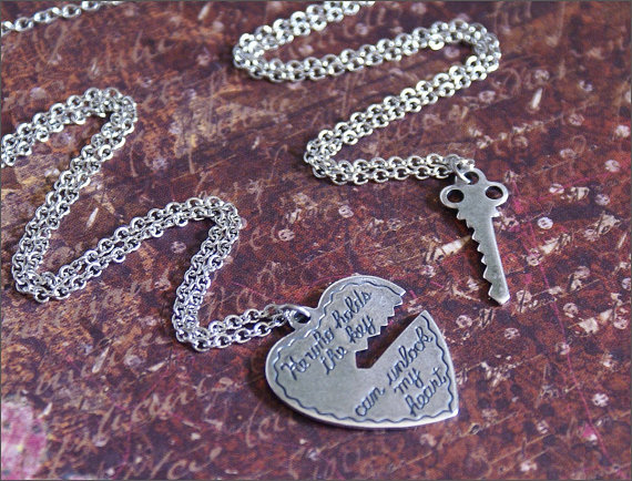 Heart key necklace two necklace set in by revellerosejewelry