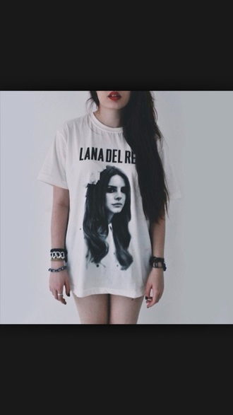 t-shirt lana del rey white shirt black lana
