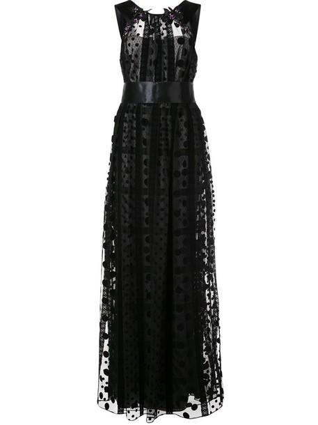 Marchesa Notte gown sheer women embellished black dress