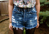 shorts,galaxy print,High waisted shorts,demin