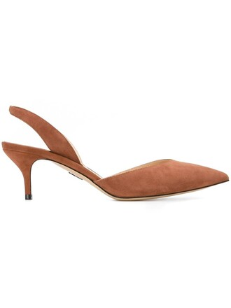 heel women pumps leather suede brown shoes