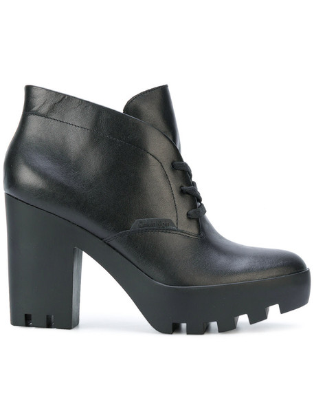 Calvin Klein Jeans heel chunky heel women ankle boots leather black shoes