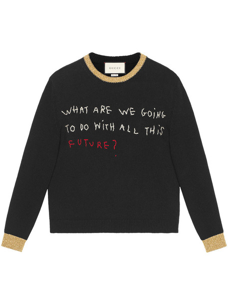 Gucci - Coco Capitán embroidered knitted top - women - Nylon/Polyester/Wool - M, Black, Nylon/Polyester/Wool