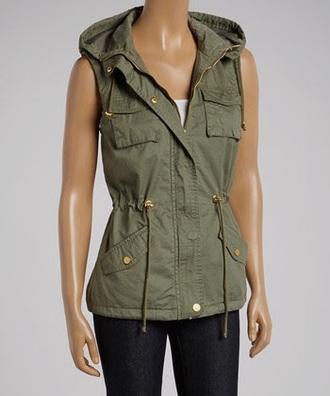 jacket vest olive green military vest