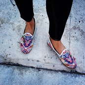 shoes,print,smoking slippers,flats,loafers,aztec,summer,tumblr,tumblr shoes