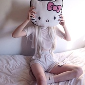 shirt,charlie barker,outfit,cute,pillow,hello kitty,home accessory,kawaii,pink,soft grunge,pastel,cats,top