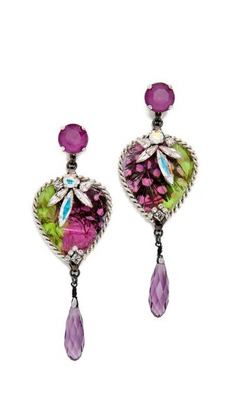 birds earrings pink jewels