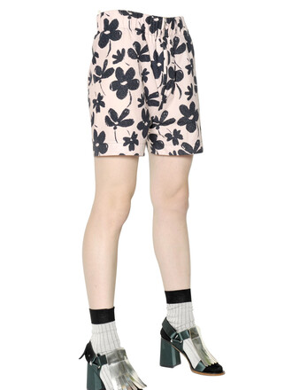 shorts floral cotton pink