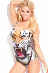Tiger Head Print Bathing Suit – Glamzelle