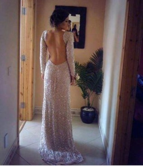 dress long sleeved backless prom dress sparkly dress light gold prom dress maxi dress sequin dress long sleeved dress backless dress bag glitter dress long prom dress prom, sparkle sequins long prom dresses 2014 prom dresses long open back dress open back dresses