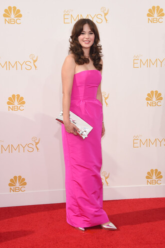 dress pink dress zooey deschanel shoes emmys 2014