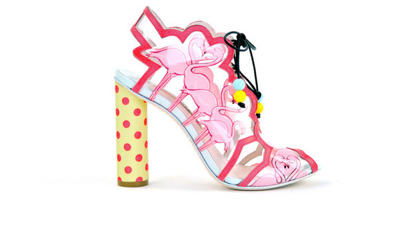 polka dots shoes flamingo high heels kawaii