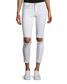 rag & bone/JEAN Distressed Skinny Cropped Jeans, White