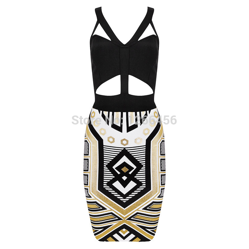 Aliexpress.com : buy lady go rayon sexy 2014 hot mini v neck gold print color blocked geometry hollow backless party bandage dress h1083 from reliable dress white suppliers on lady go fashion shop
