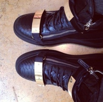 shoes giuseppe zanotti gold black black shoes sneakers fashion